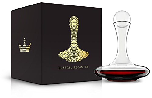 Venero Wine Decanter Aerator Set - Lead Free Crystal Glass Carafe and Stopper - Aerating Liquor Pourer with Lid for Red Wine, Cognac, Bourbon, Scotch, Irish Whiskey - Luxury Gift Box for Men or Women