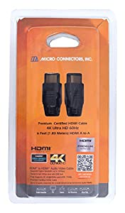 Micro Connectors Premium Certified HDMI 4K Ultra HD 60Hz Cable - 6ft, Black (H2-06MAMA) by Micro Connectors, Inc