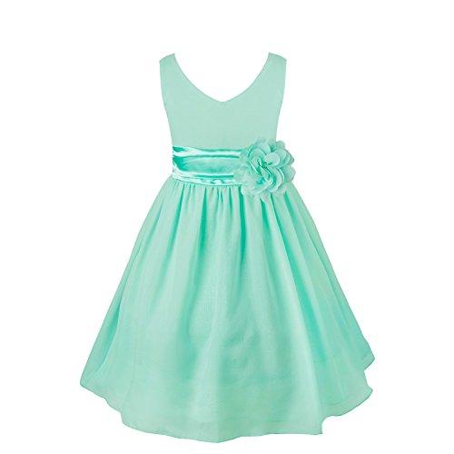 (FEESHOW Kids Big Girls Chiffon Bridesmaid Wedding Pageant Graduation Party Flower Girl Dress with Sash Turquoise)