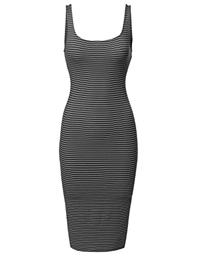 Casual Basic Scoop Neck Striped Sleeveless Bodycon Midi Dress Black S (Cute Halloween Dress)