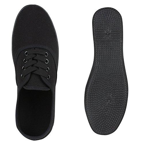 Stiefelparadies Damen Sneakers Halbschuhe Brogues Freizeit Schuhe Casual Style Flandell Schwarz Glatt