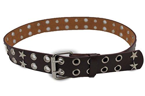 (TFJ Women's Rocker Fashion Belt Silver Metal Chain Pyramid Stud Buckle S M L XL Black (Brown stars -Large 35