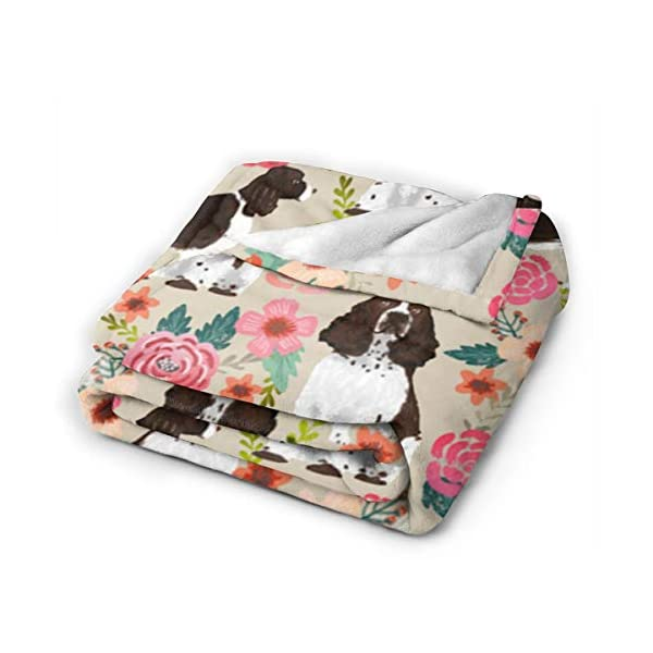 YongColer Fleece Blankets for Fall Winter Spring All Season Lightweight Throw for The Bed Extra Soft Brush Fabric Summer Autumn Warm Sofa Blanket (English Springer Spaniel) 2