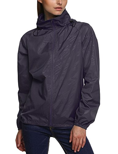 Zeagoo Women's Packable Outdoor Waterproof Hooded Raincoat J
