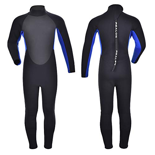 Realon Kids Wetsuit Shorty Full 3mm Premium Neoprene Lycra Swimsuit Toddler Baby Children and Girls Boys Youth Swim Surfing Snorkel Dive Snorkel Back Zip Suit (Youth Full Suit 2mm/3mm / ()