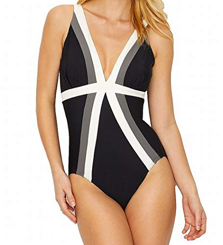 Miraclesuit Women's Spectra Trilogy One-Piece Black/White/Tan 16 from Miraclesuit
