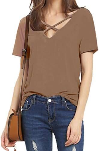 Allegrace Women Summer Sexy Criss Cross Short Sleeve Open Back T Shirt Casual Tops