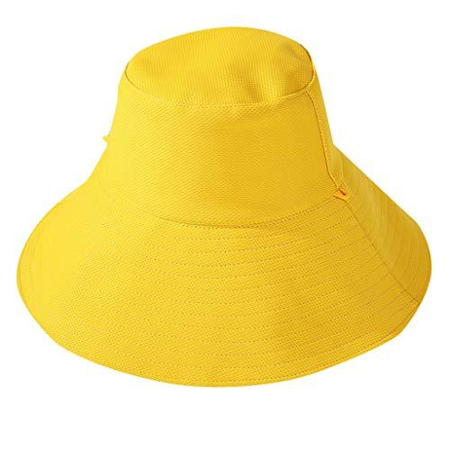 (BCDshop Women Fashion Packable Reversible Color Fisherman Bucket Sun Hat Dual-Sided Wearable Outdoor Cap (Yellow))