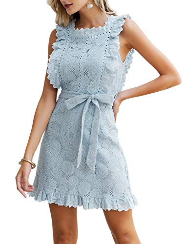 Fashiomo Women's Lace Floral Hollow Out Mini Dress Ruffle Tie Waist Summer Dress Light Blue,L (Lace Belt Belted)
