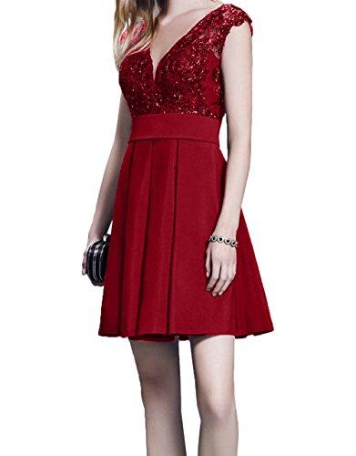 Fesltichkleider Cocktailkleider Partykleider Tanzenkleider Abendkleider Linie Charmant Mini Schwarz Kurzarm Damen Rot A Dunkel nXWnBxOvH