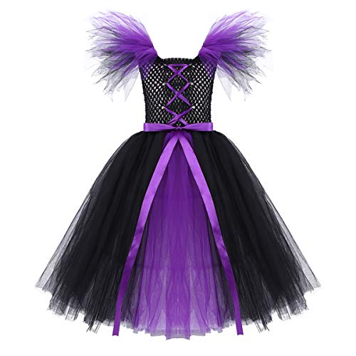 YiZYiF Girls Evil Queen Fluffy Tutu Dresses Children Halloween Witch Cosplay Party Dress up Black&Purple 4-5 -