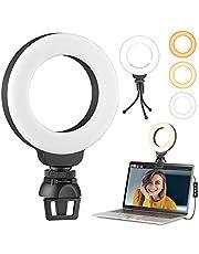 4 inch Video Conferentie Verlichting Kit, LED Selfie Ring Licht met Statief, Selfie RingLicht voor Monitor Clip On, Laptop/Webcam Licht voor Live Streaming, Make-up, YouTube, Tiktok Vlog en Fotografie