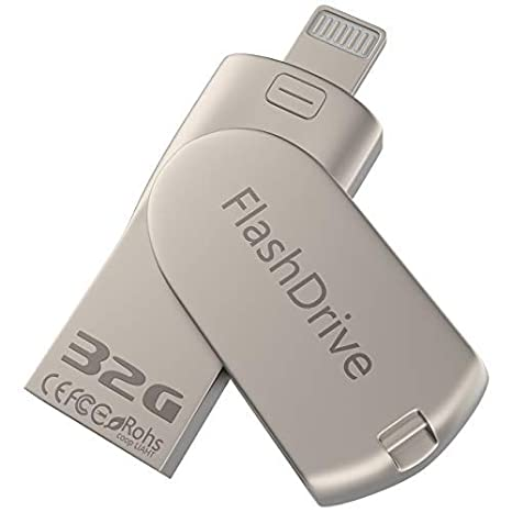 iOS USB Flash Drive 2-in-1 32GB iPhone Flash Drive Pen-Drive External  Memory Expansion for iPhone PC - Silver/32GB
