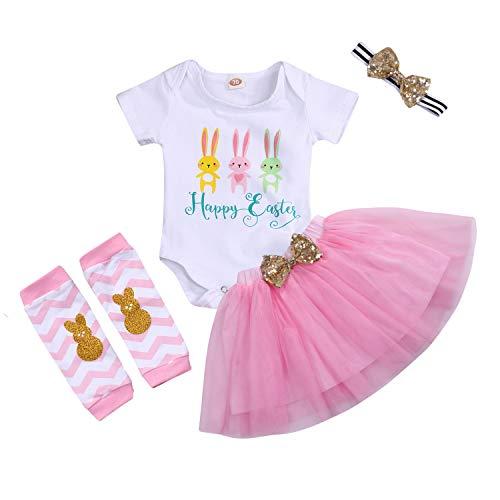 - Easter Newborn Infant Baby Girls Dress Outfits Bunny Rabbit Romper+Tutu Skirt Summer Princess Party Ruffle Dress Clothes (Pink, 0-6 Months)