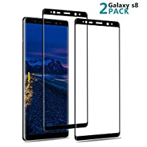 [2 Pack ] S8 Screen Protector,AAJO Tempered Glass Anti-Spy [3D Curved][Case Friendly] Full Coverage/Premium Screen Protector Film for Samsung Galaxy S8 (Black)