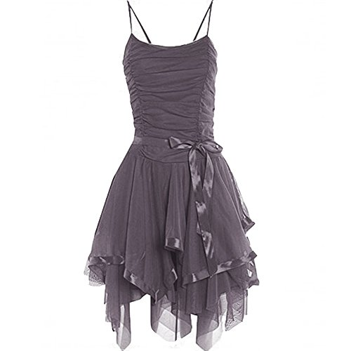 Sleeveless Ruffle Midi New Prom Cocktail Janisramone Evening Skater Party Charcoal Dress Womens Ball gEnqBx