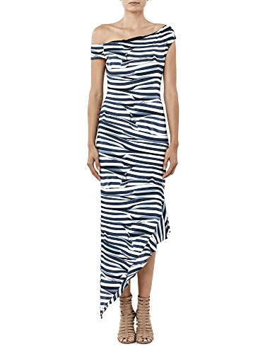 - Nicole Miller Women's Heatwave Stripe Off Shoulder Dress, Blue/White, L