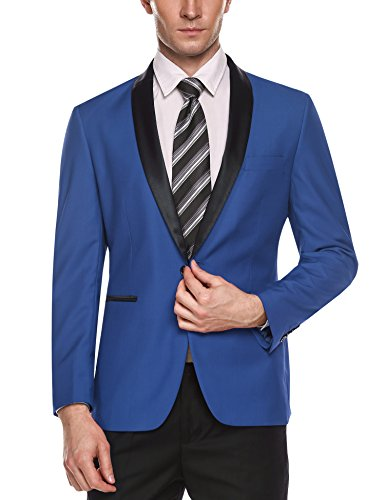 Coofandy Men's Slim Fit Stylish Casual One-Button Suit Coat Jacket Business Blazers
