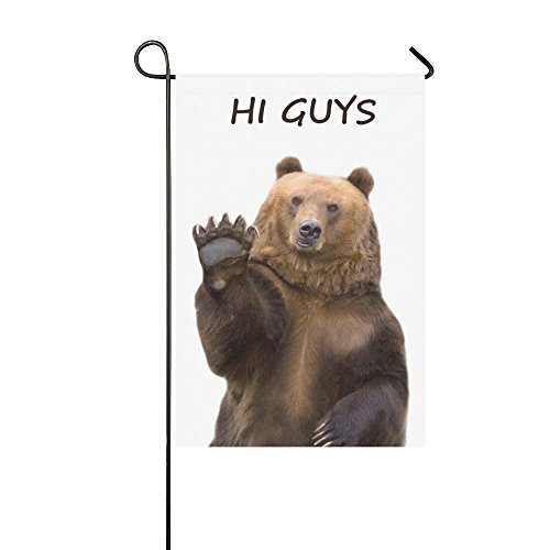 InterestPrint Brown Bear Welcomes Long Polyester Garden Flag Banner 12 x 18 inch, Funny Bear Waves a Paw Decorative Flag for Wedding Anniversary Home Outdoor Garden Decor