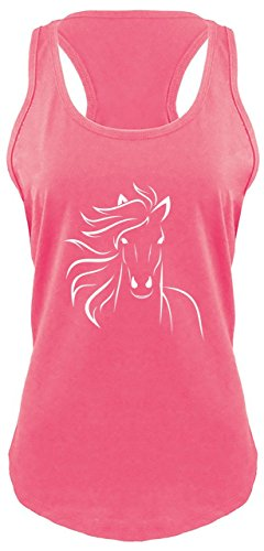 Comical Shirt Ladies Horse Outline Graphic Tee Racerback