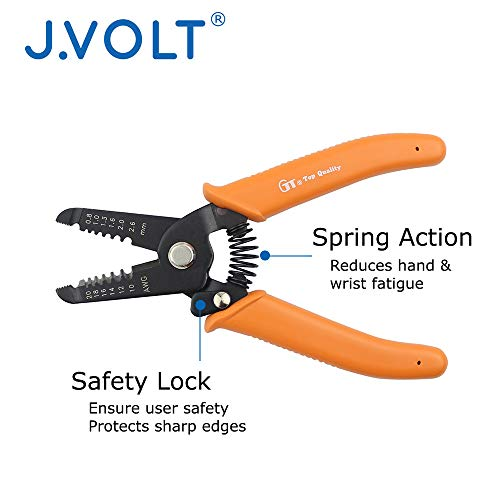 """J.VOLT HTL3260 Wire Stripper 10-20 AWG, Stranded Wire Cutter, Solid Wire Cutter, with Safety Lock. 6"""" Compact Size by J.VOLT (Image #3)"""