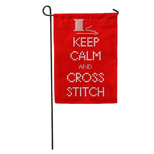 Semtomn Garden Flag Needle and Thread Keep Calm Cross Stitch Sampler White Home Yard House Decor Barnner Outdoor Stand 28x40 Inches Flag