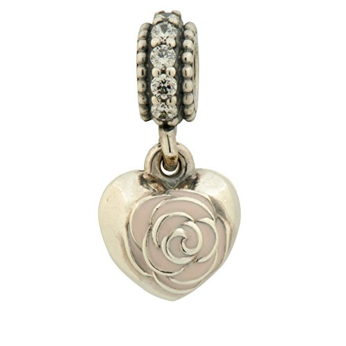Pandora 791528EN40 Dangle Mother's Rose, Pink Enamel and Clear Cubic Zirconia (Pandora Papeles De)