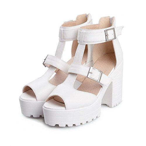 High Material Heels AllhqFashion Zipper White Peep Toe Women's Sandals Solid Soft EwxqSXqf6