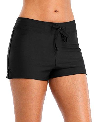 Vegatos Womens Solid Boardshorts Swimming Shorts Swim Bottoms Surfing Boyshorts Black by Vegatos (Image #6)