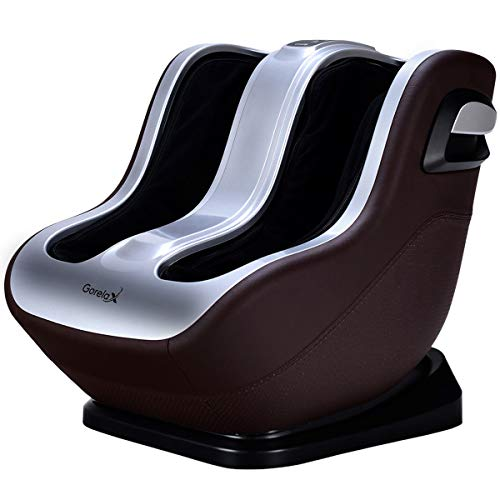New Foot Massager Giantex Shiatsu Foot Calf Massager Machine Leg Massage with Portable Handle Kneading Deeping Rolling Vibration Therapy Muscle Relief Mechanistic Control Feet Massagers (Silver & Brown) 2019