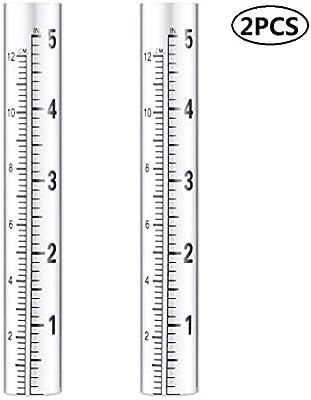 OUNONA 2Pcs Rain Gauge Glass Replacement Tube Flat-bottomed Rain Gauge Test Tube