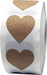InStockLabels Heart Stickers 3/4 Inch 500 Adhesive Labels, Natural Kraft