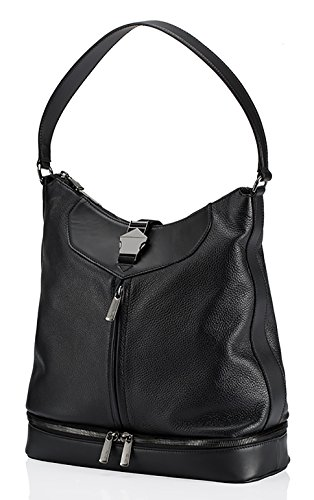 Mix Up Elements Hobo leather grain black Qvin Black in fOgq5w