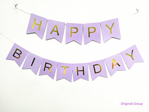 Originals Group Lavender Gold Foiled Star Happy Birthday Bunting Banner for Party Decoratins