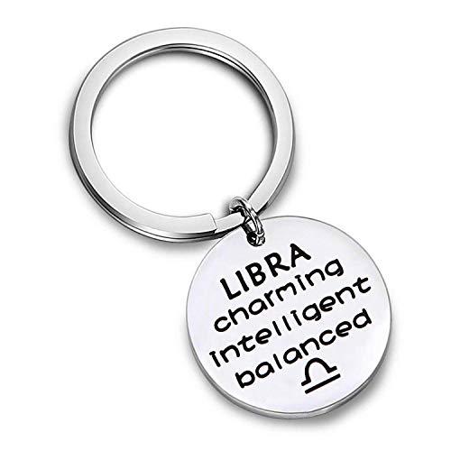 AKTAP Zodiac Key Chain Zodiac Constellation Sign Symbol Keychain Birthday Gift for Women Girls (Libra) ()