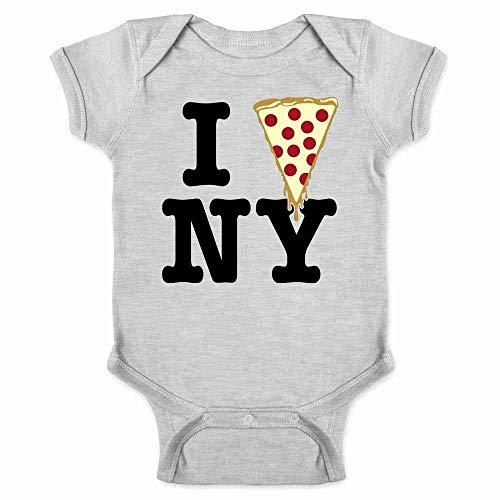 I Pizza New York Gray 6M Infant Bodysuit