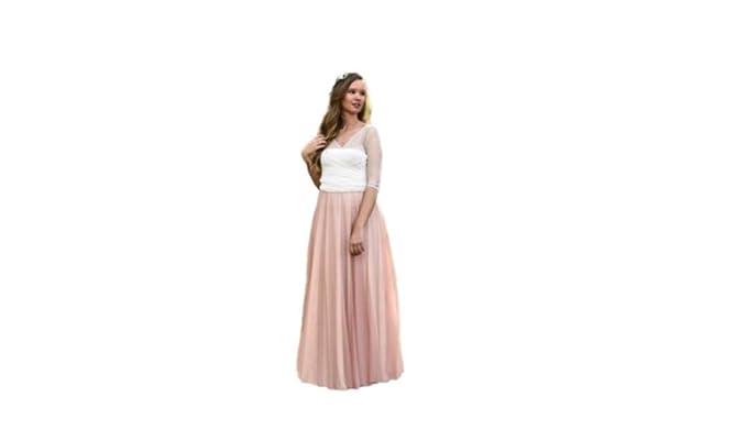 9c8fa32cc Vestido de Novia a Medida Traje de Boda Mujer Largo de Tul Romántico para  Boda Civil o Religiosa: Amazon.es: Ropa y accesorios