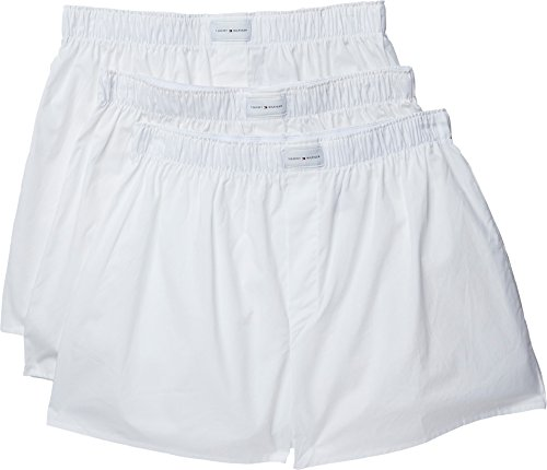 3 Pack Cotton Classics Woven Boxers, White, Large ()