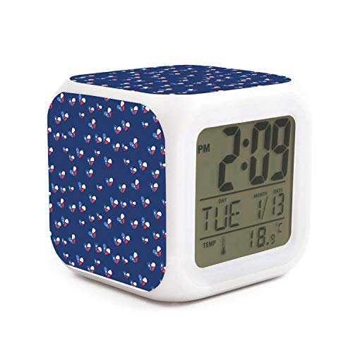 kanidjkd Wake Up Lone Star State Texas Flag Heart Dimmer Snooze LED Nightlight Bedroom Desk Travel Digital Bell Alarm Clock for Kids Girls