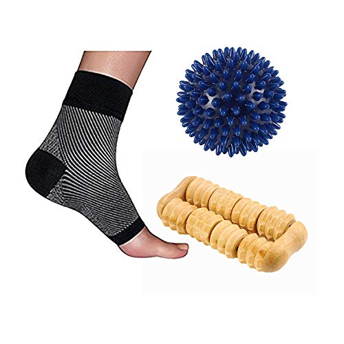 B-Well Comfort Kit for Plantar Fasciitis Compression Socks, Spiky Massage Ball - Superior to Night Splint Socks, Ankle Pain Relief for Men, Women, Running & Heel spur Plantar Fasciitis Socks (S/M)
