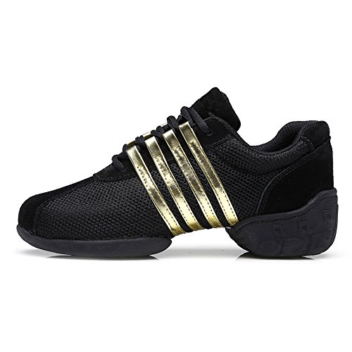 Roymall-Men-and-Womens-Gold-Mesh-Boost-Dance-SneakerModern-Jazz-Ballroom-Performance-Dance-Sneakers-Sports-ShoesModel-T01B10-BM-US