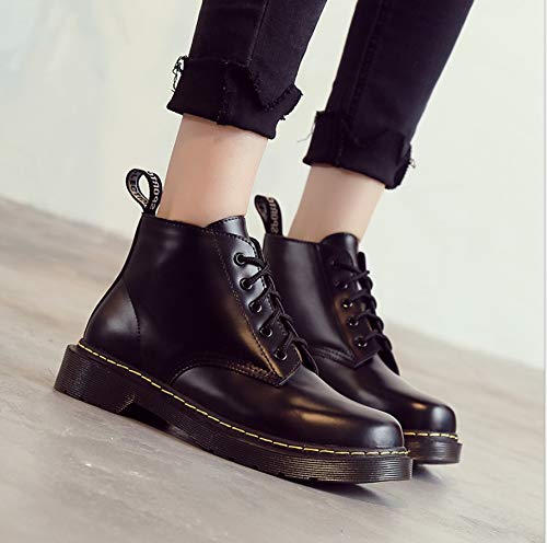 LIANGXIE Lase Stiefeletten Stiefel Classic Leder Runde Mode velvet Booties Boot up Black Damen Martens Toe Combat plus Damen 1460 qwrr7tX