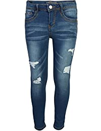 Girl's Skinny Soft Stretch Jeans with Rips and Tears