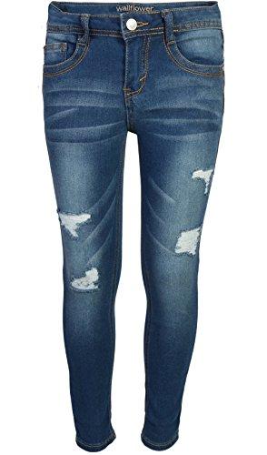 WallFlower Girl's Skinny Soft Strech Jeans, Dark Wash w/Rips, Size 14 - Stretch Adjustable Waist Jeans