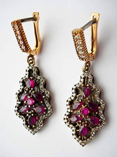 Vintage Ottoman 925 silver gold vermeil ruby and diamond dangle earrings