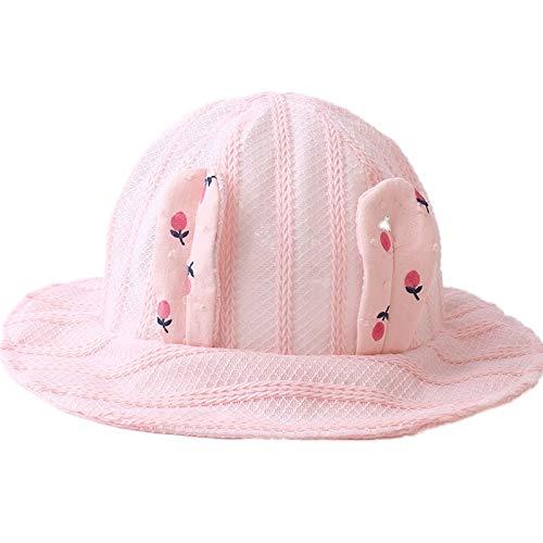 Huasen Kid Packable Soft Mesh Cap Lovely Baby Rabbit Ear Sun Protection Bucket Hat-Pink