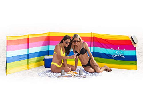 Beach Windscreen, Privacy Screen, Wind Blocker - Beach Colors, with Mallet and Carry Bag