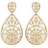 1001 Bijoux - Boucles d'oreille tige acier pendantes forme ovale diamantées PVD jaune