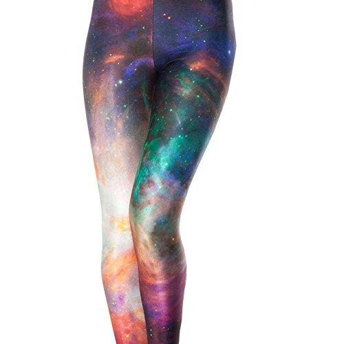 Idingding Womens Galaxy Star Printed High Waist Leggings Pants, Rainbow, ()