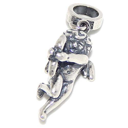 """925 Sterling Silver """"Dangling Cupid Shooting His Arrow"""" Charm Bead"""